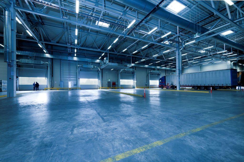 commercial garage doors in warehouse